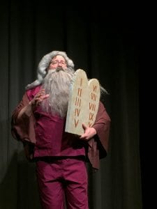 """Jeremy Mahr plays Charlton Heston, er, uh, I mean, Moses in QCTW's """"The Bible"""""""