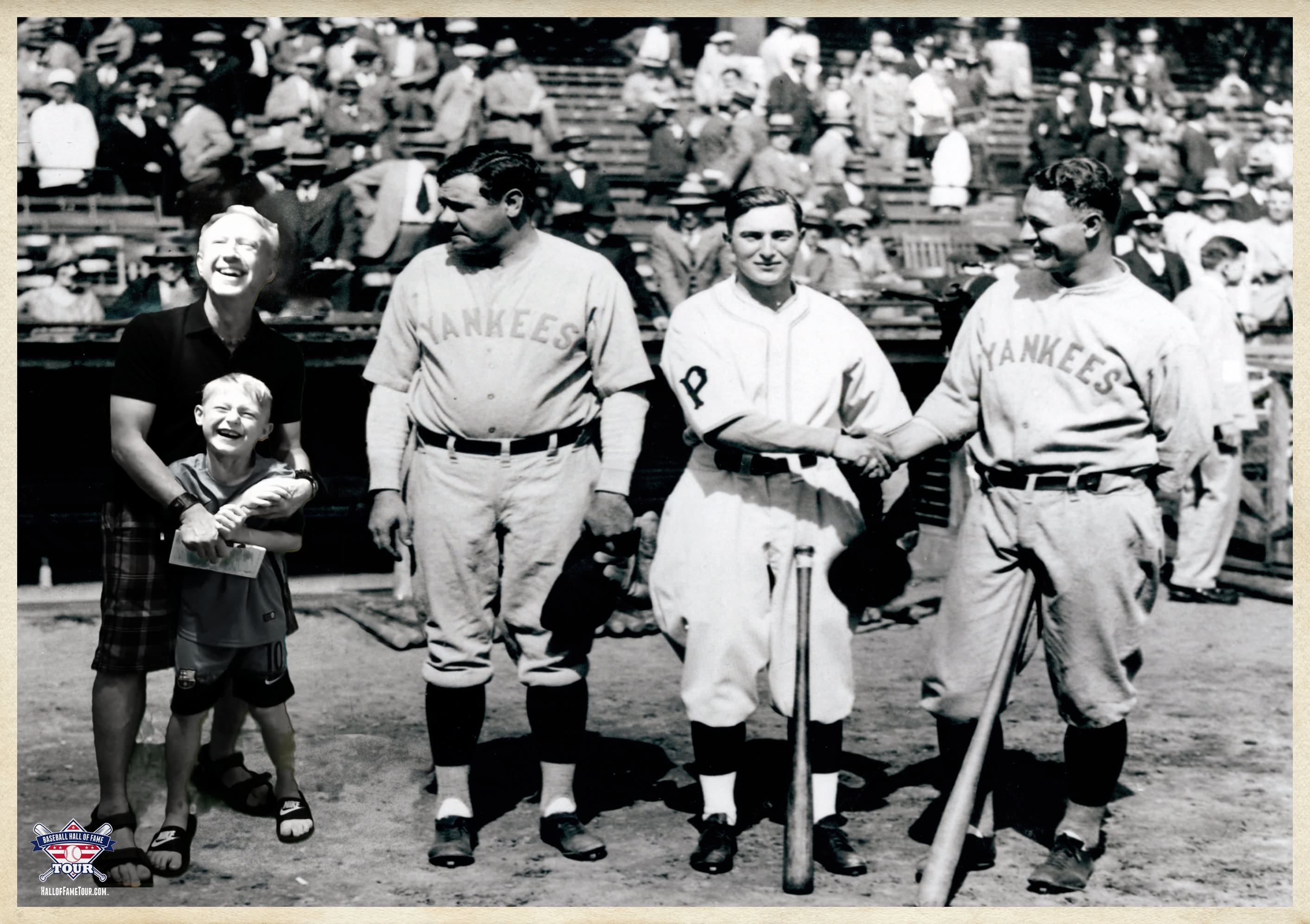 Sean Leary and his son, Jackson, meet Babe Ruth and other sluggers in an interactive photo exhibit at the Baseball Hall of Fame show in Davenport.