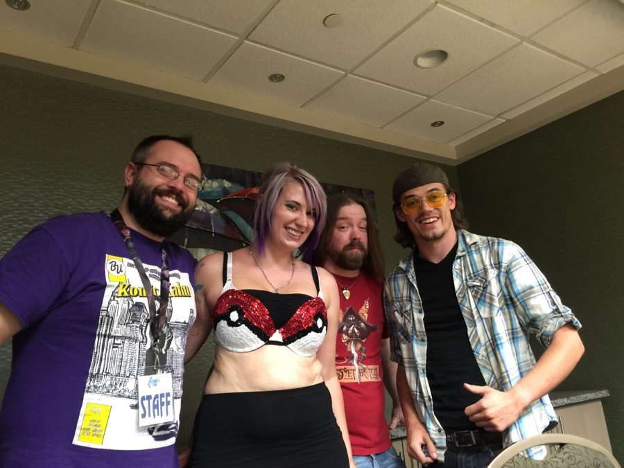 From left, Josh Kahn, Nikki Gillette, Dustin Lee and Anthony Natarelli performed during the Show Us Your Pokeballs comedy show at the con.