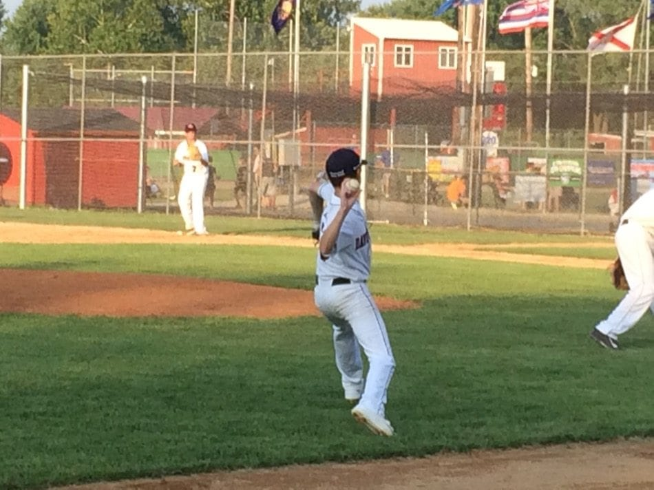 Davenport's Cody Depardo fires over to first base