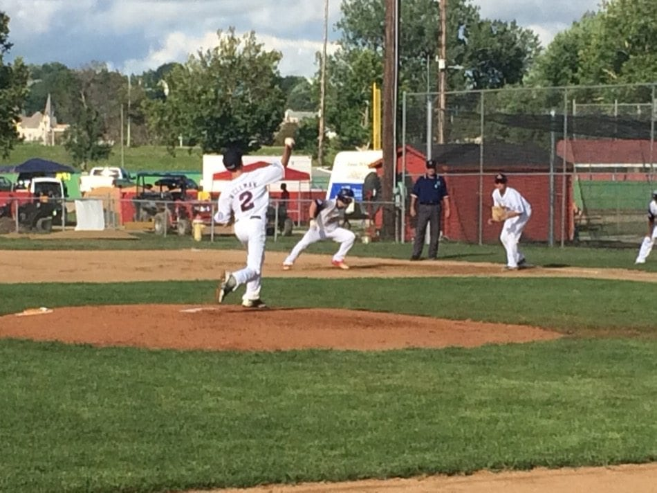 Davenport's Sam Wellman with the first inning pick-off attempt