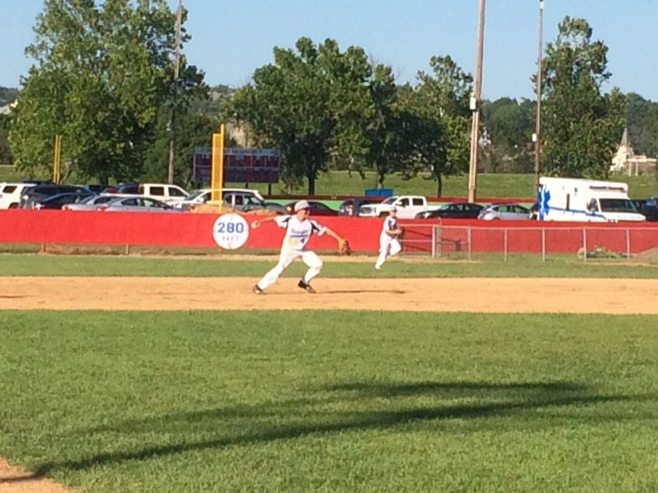 Meridian Second Baseman JJ Rowcliff makes the throw in the first inning.