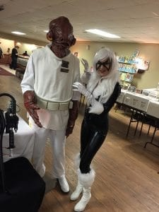 Kayla Korch of Davenport gets catty as Black Cat as Admiral Ackbar makes her purr at the QC Fun Con.