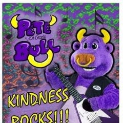 Pete the Purple Bull Showing Kindness Rocks in the Quad Cities!