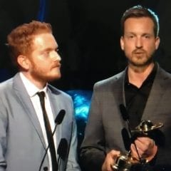 "Scott Beck and Bryan Woods winning a Saturn Award for ""A Quiet Place"""