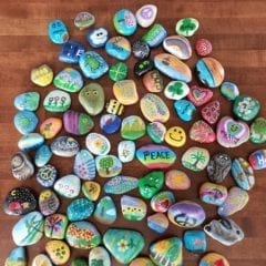 Various decorated rocks from the QC Rocks project