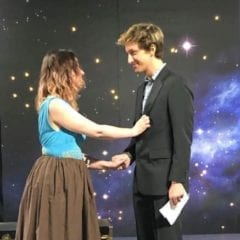 """Alice Jane and Adam Cerny in """"Silent Sky"""" at Playcrafters Barn Theater"""