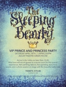 Ballet Quad Cities Holding VIP Prince And Princess Party