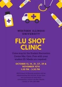 Free Flu Shot Clinic Scheduled for WIU-Macomb Students Nov. 10