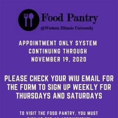 Western Illinois University Food Pantry Continuing Appointment System through Nov. 18