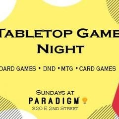 Davenport's Paradigm Gaming Center Holding Tabletop Game Night