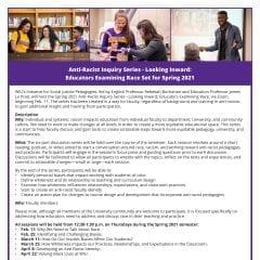 Anti-Racist Inquiry Series for Faculty - Looking Inward: WIU Educators Examining Race Set to Begin Feb. 11
