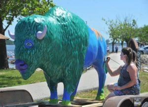 Talented Moline Artist Paints Buddy Bison to Promote Bison Bridge Project