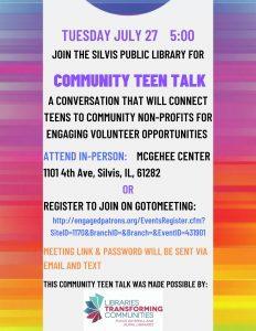 Silvis Library Holding Teen Talk Programs