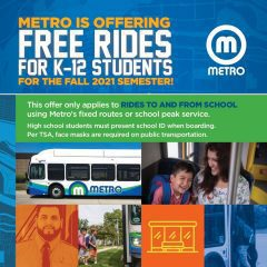 Metro Offering FREE Bus Rides For K-12 Students This Fall!